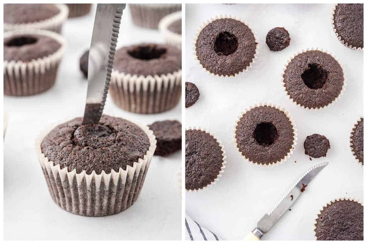 Cut a small circle out of the middle of each cupcake