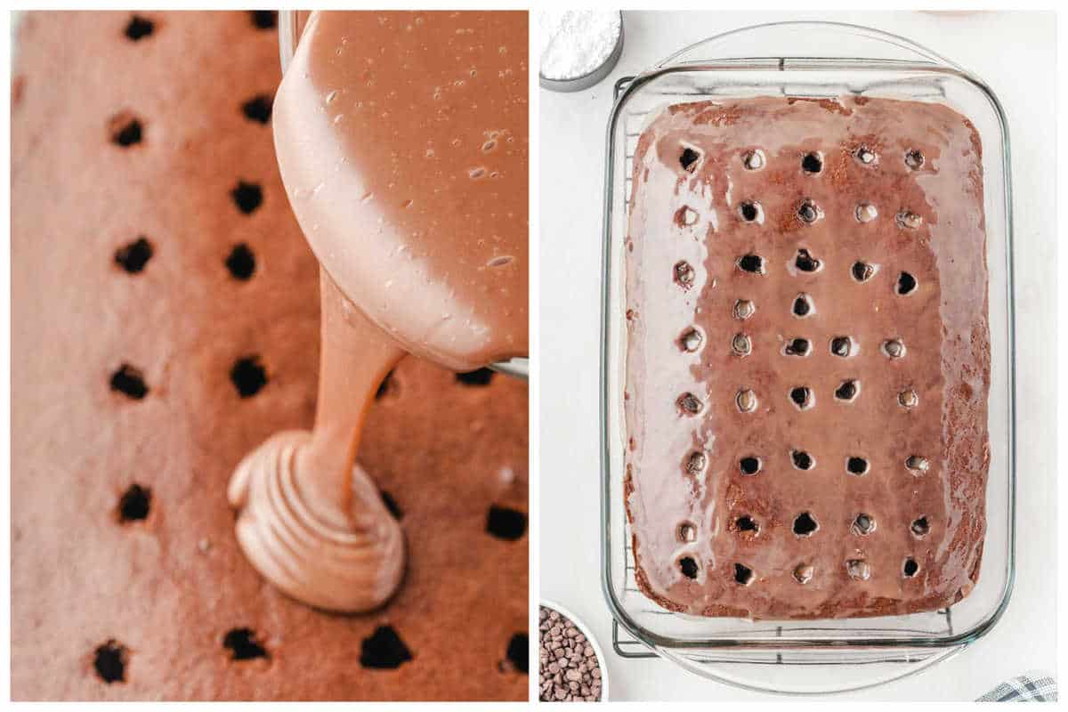 Pour mixture over the holes in the cake