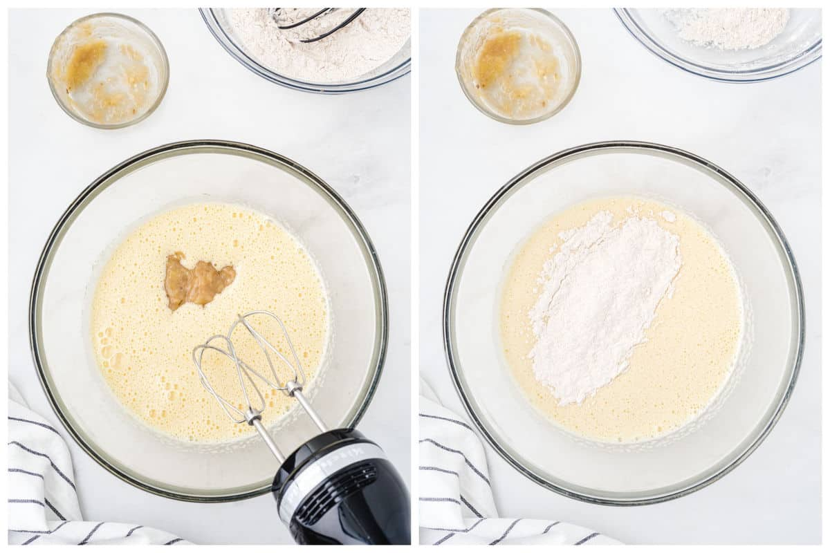 Add in the mashed bananas and continue to mix. Fold the flour mixture into the wet mixture.