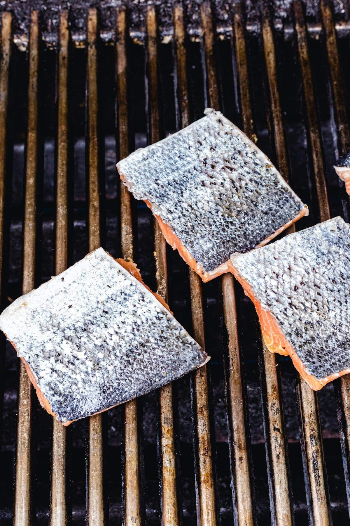 grill the salmon salmon flesh side down