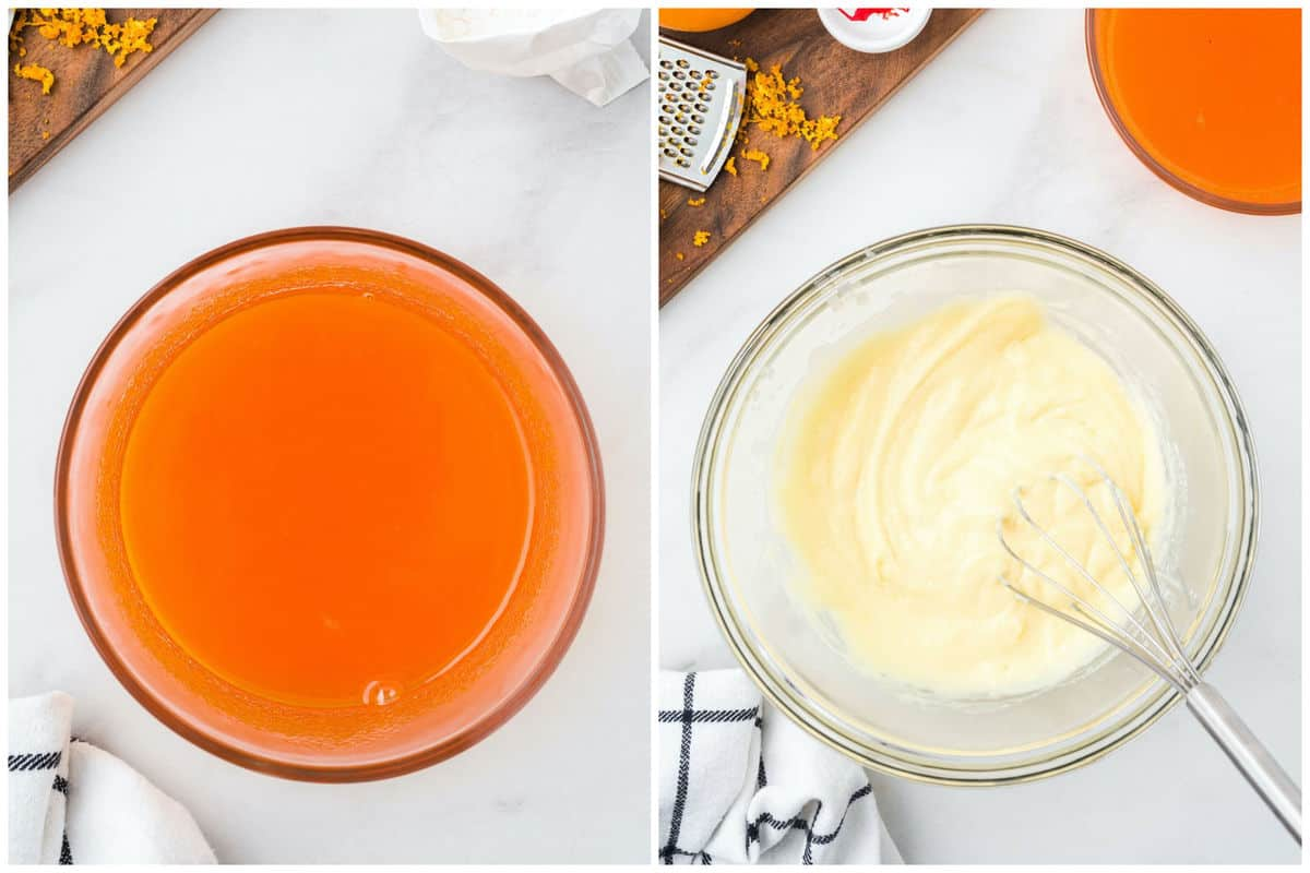 combine orange juice and gelatin in one bowl and vanilla pudding and milk in another bowl