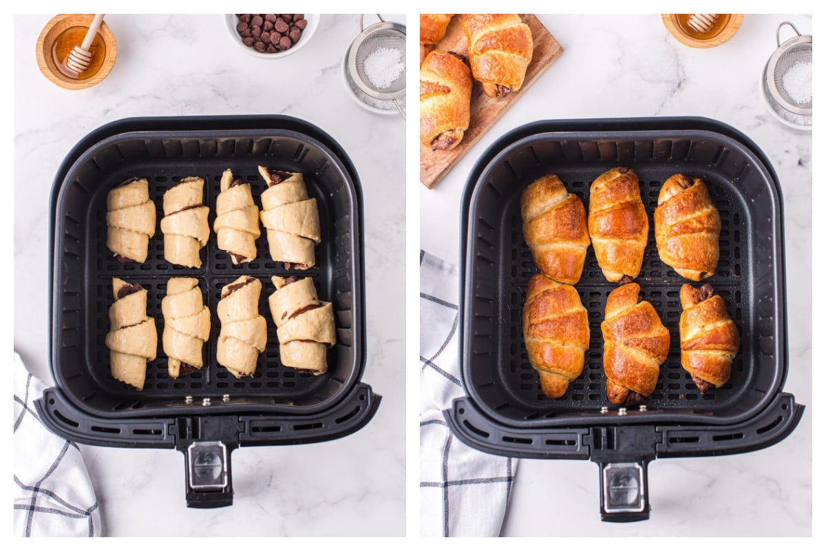place croissant to the air fryer basket