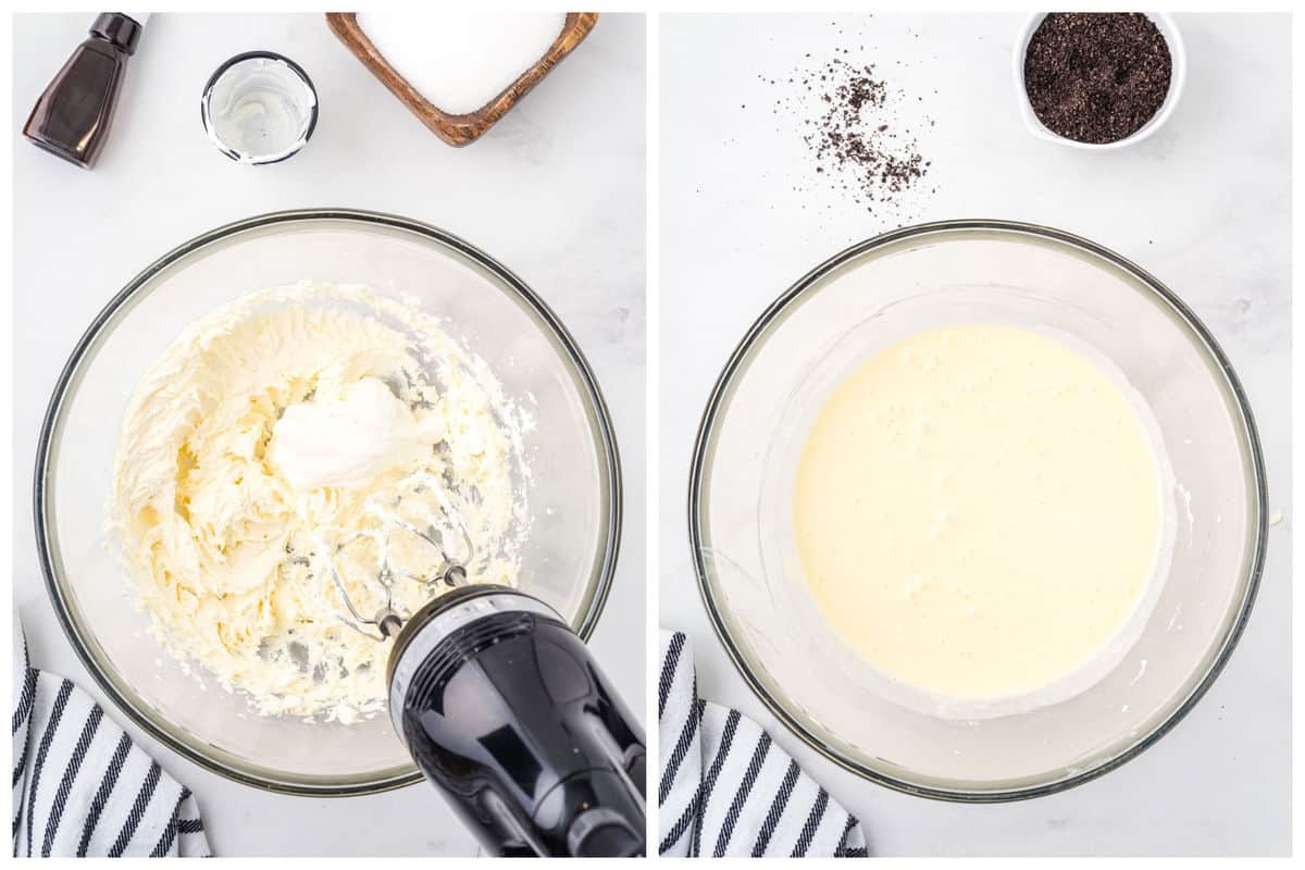 Beat the cream cheese until smooth. Add sour cream and mix until combined.