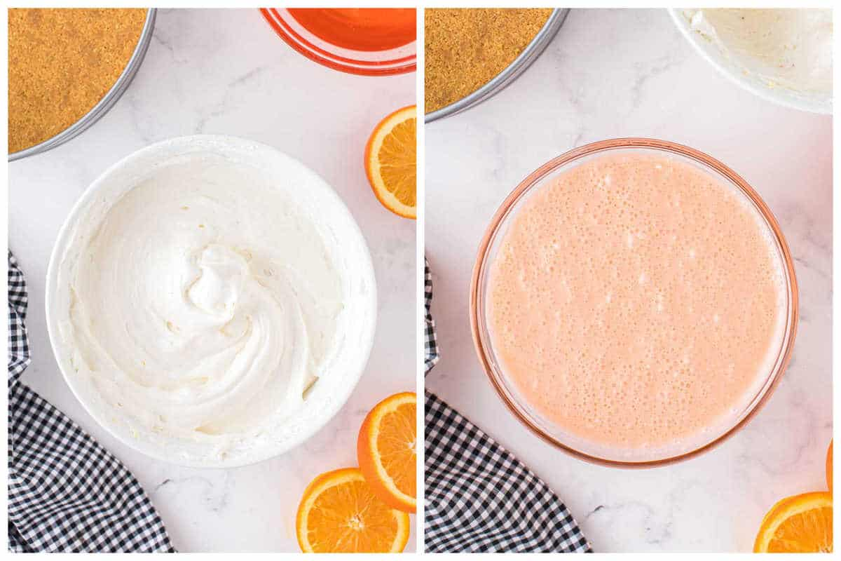 add in whipped topping into the cream cheese mixture. and mix with the jello