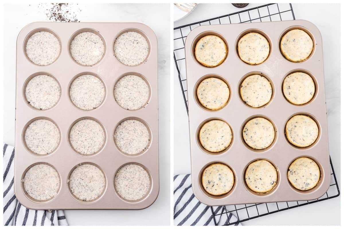 cookie and cream cheesecake in muffin tin