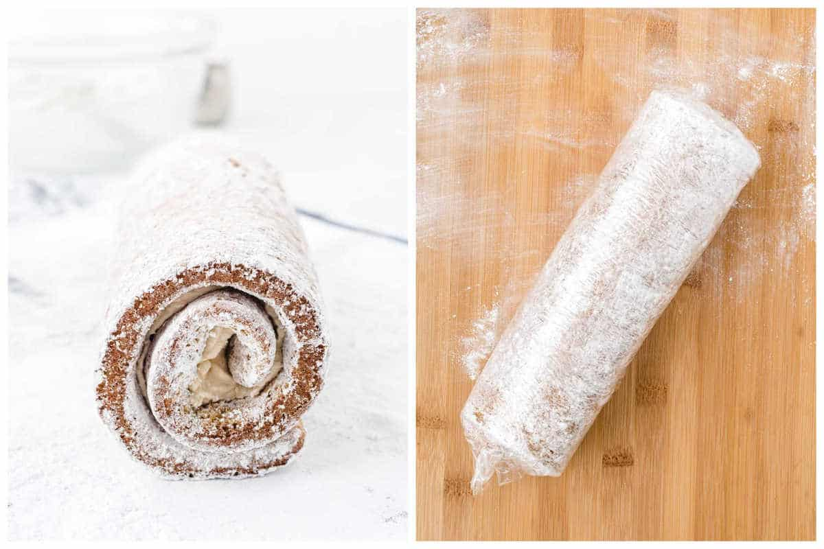 roll the cake and wrap with plastic wrap