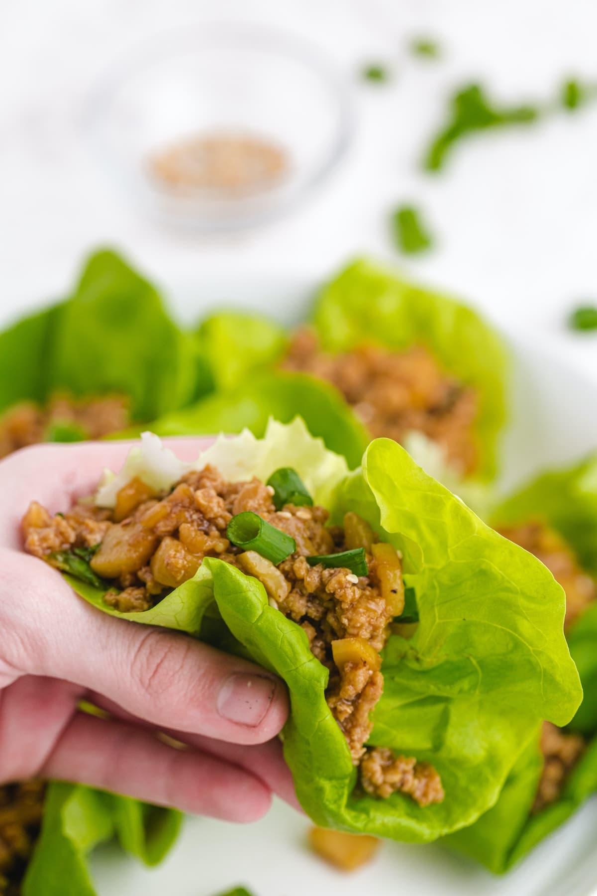 asian chicken lettuce wrap help by hand