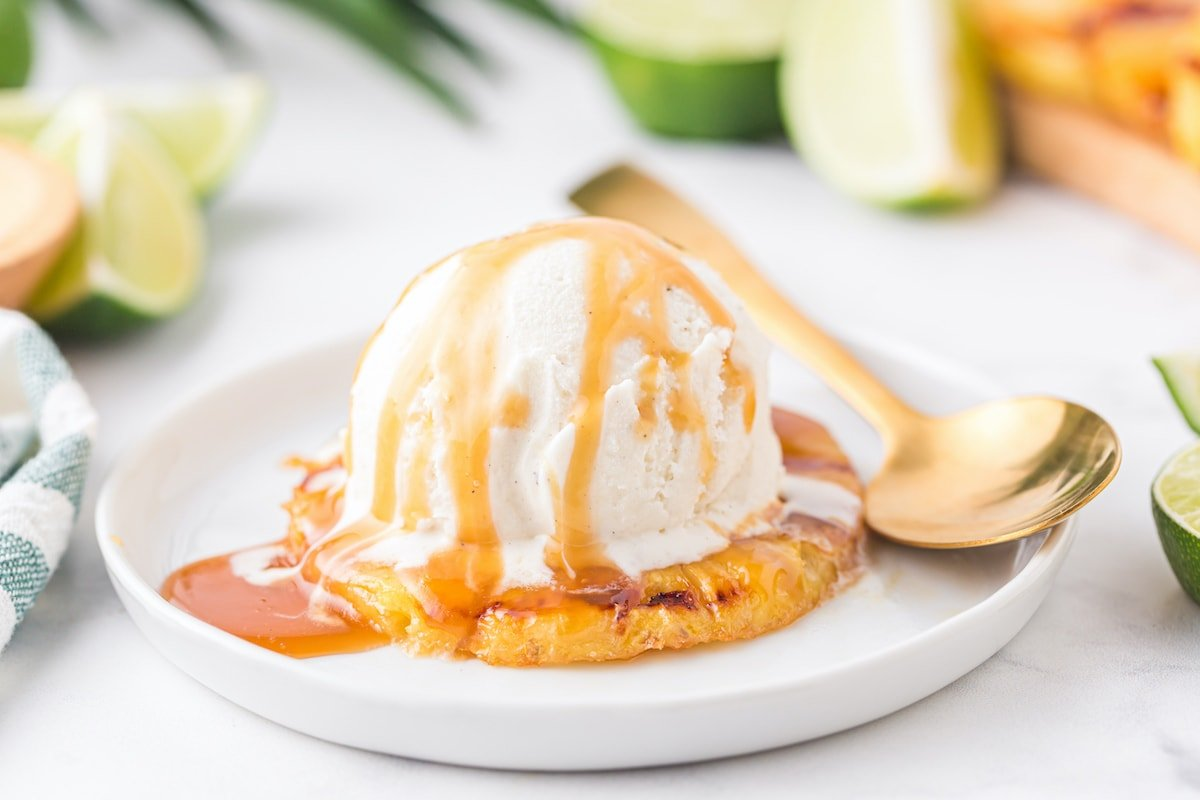 grilled pineapple served with ice cream