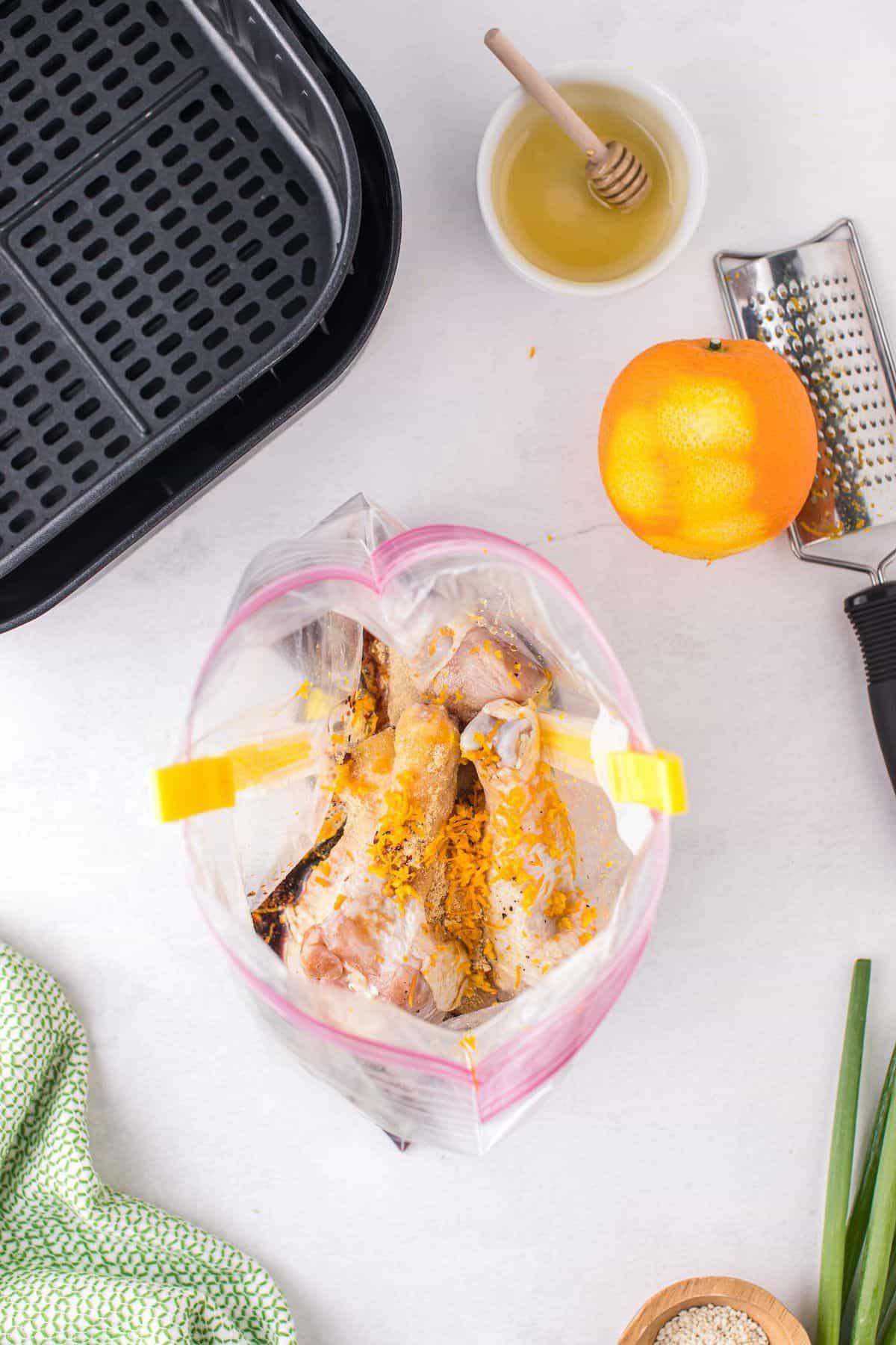 marinate chicken in the large ziploc bag