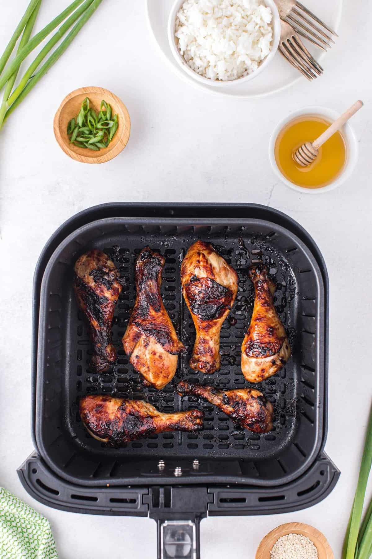 cooked chicken inside air fryer