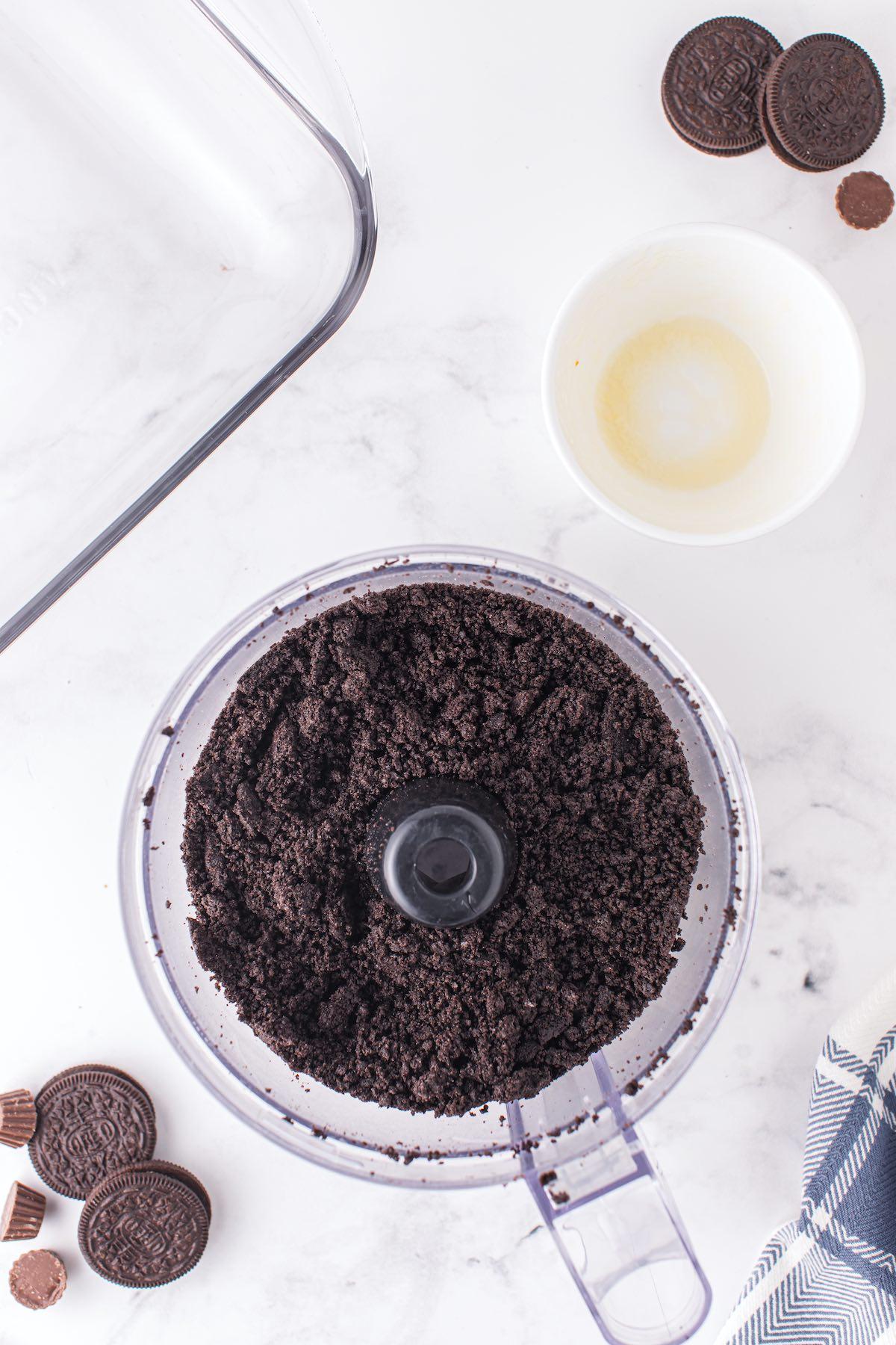 crushed oreo inside food processor