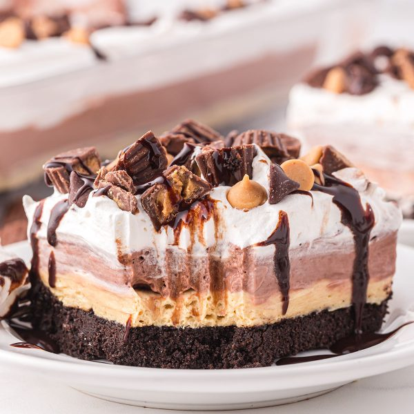 chocolate peanut butter lasagna with a bite out of the corner