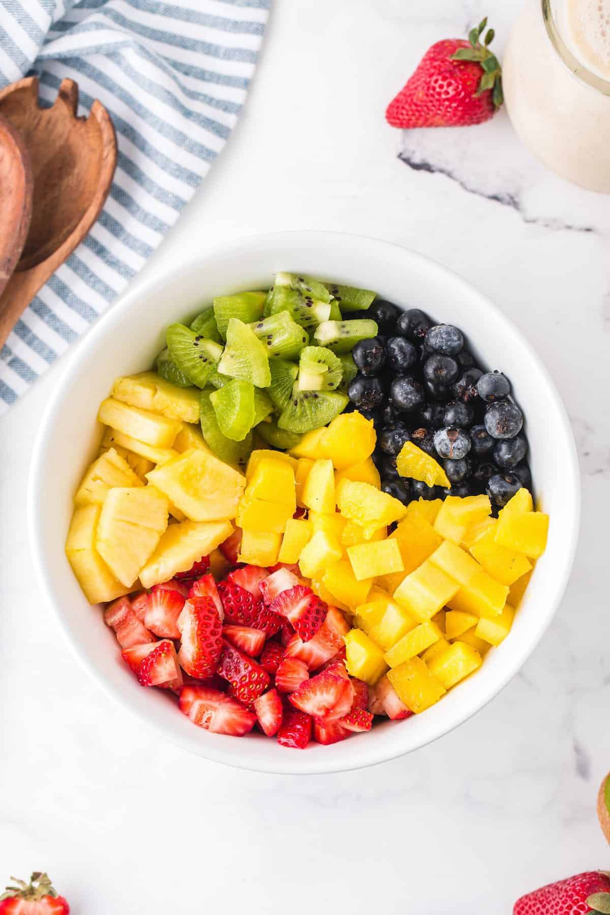 all cut fruit in a bowl
