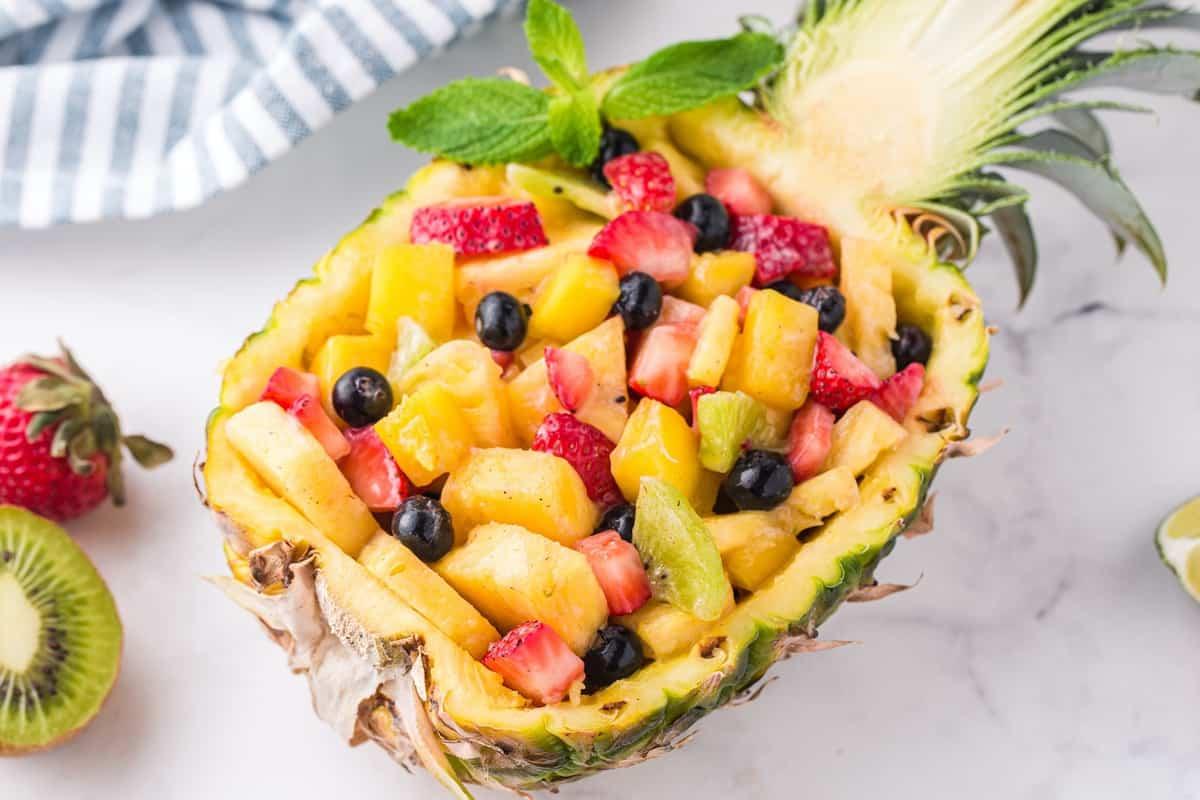 pineapple fruit salad inside pineapple