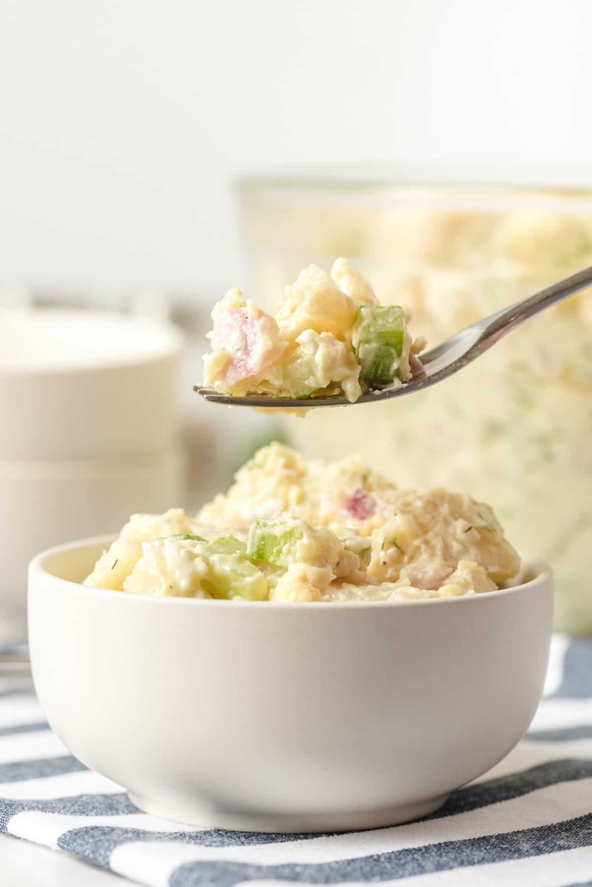potato salad on a spoon