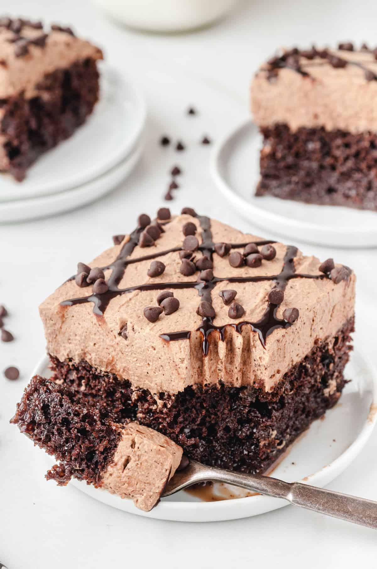 chocolate poke cake on a plate