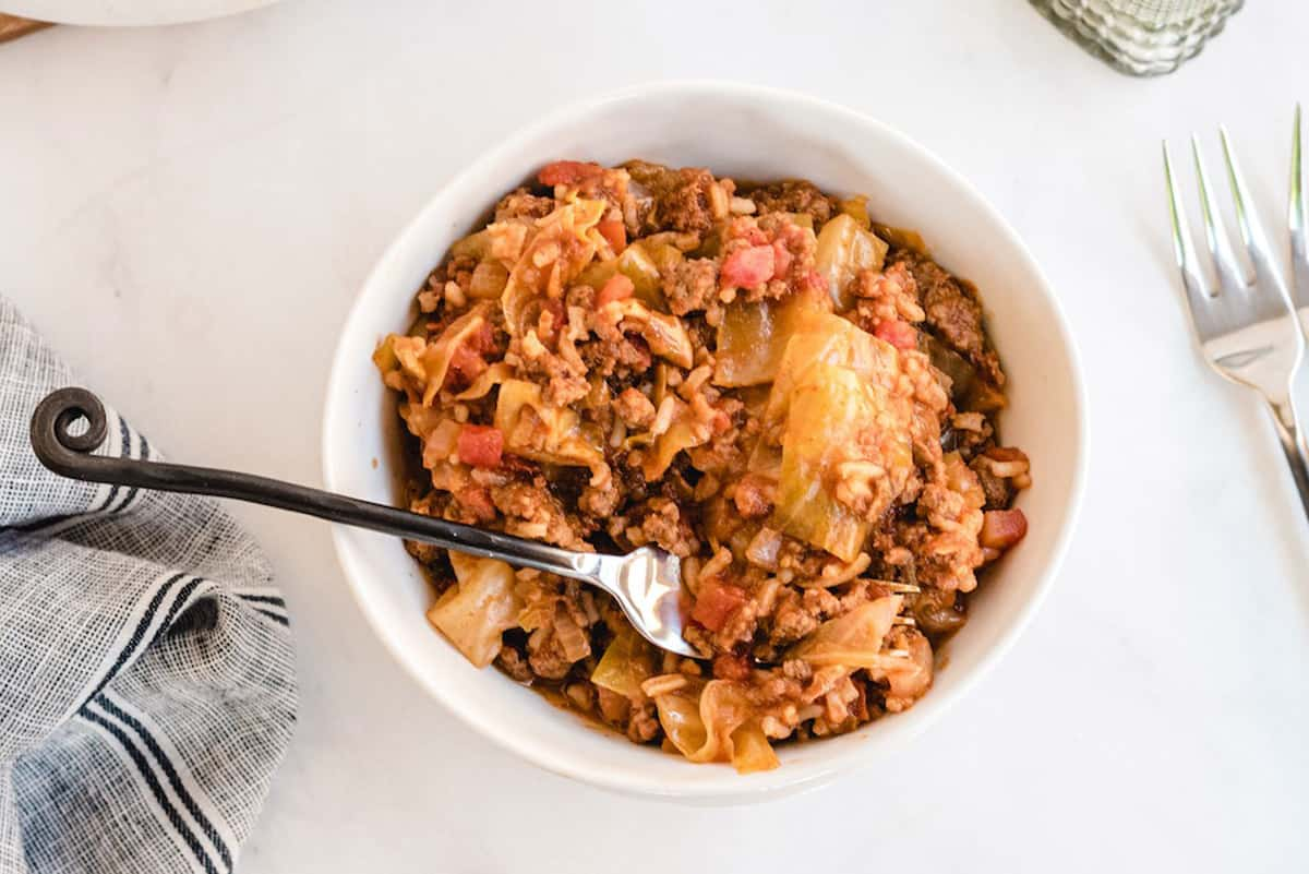 unstuffed cabbage in a bowl with fork