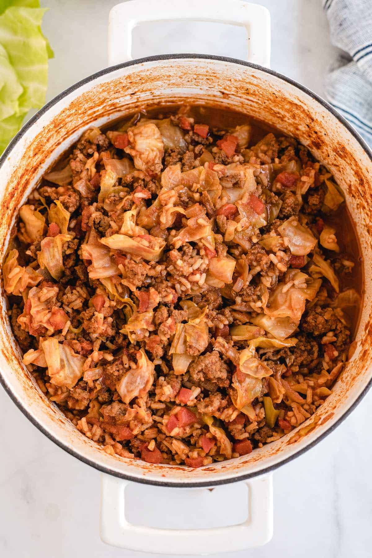 unstuffed cabbage in large pot