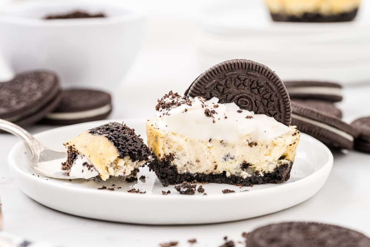 cookies and cream cheesecakes on a plate