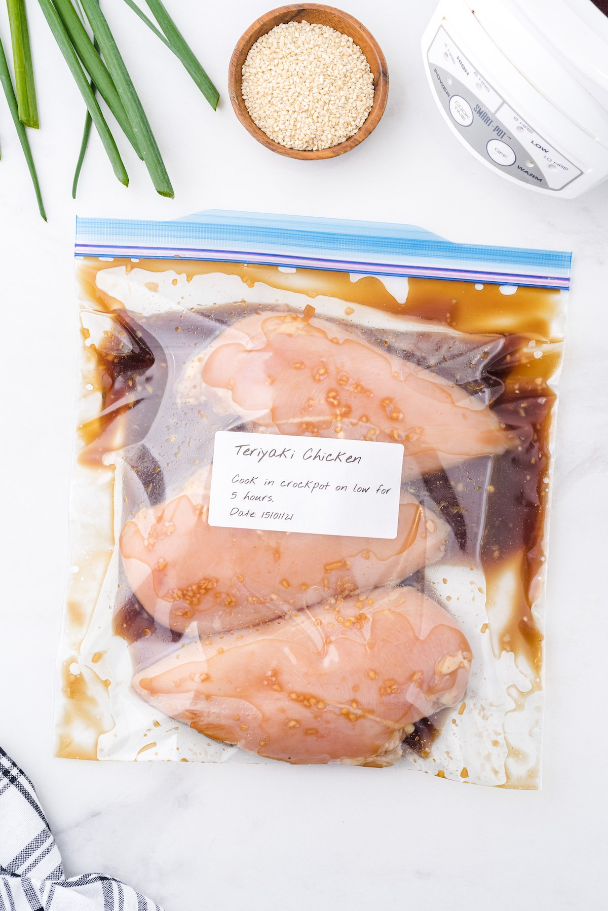 teriyaki chicken inside ziplock bag