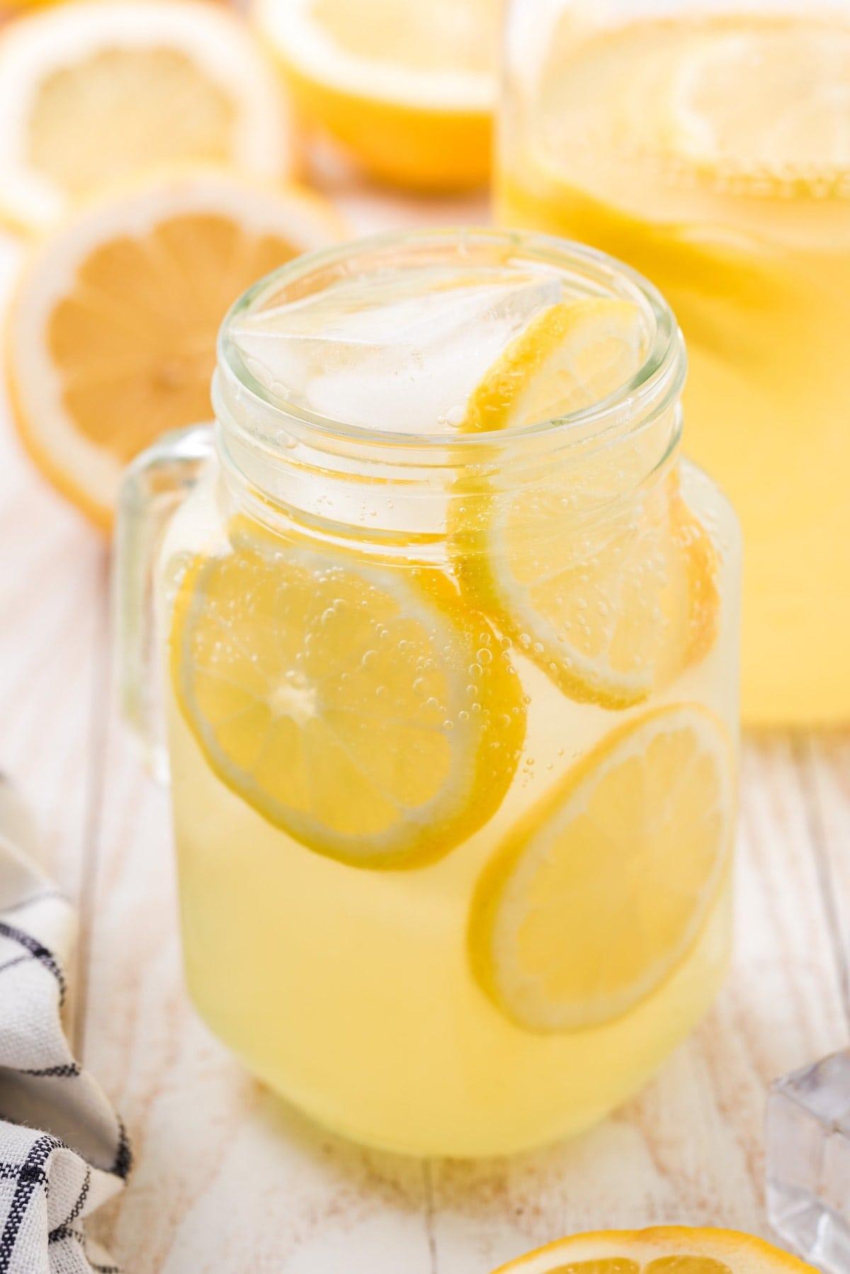 hard lemonade on a glass
