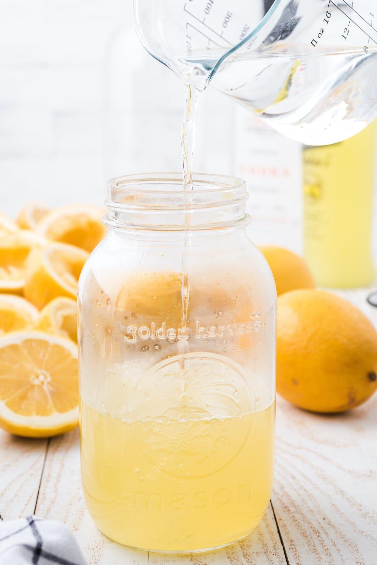 add water into the mason jar