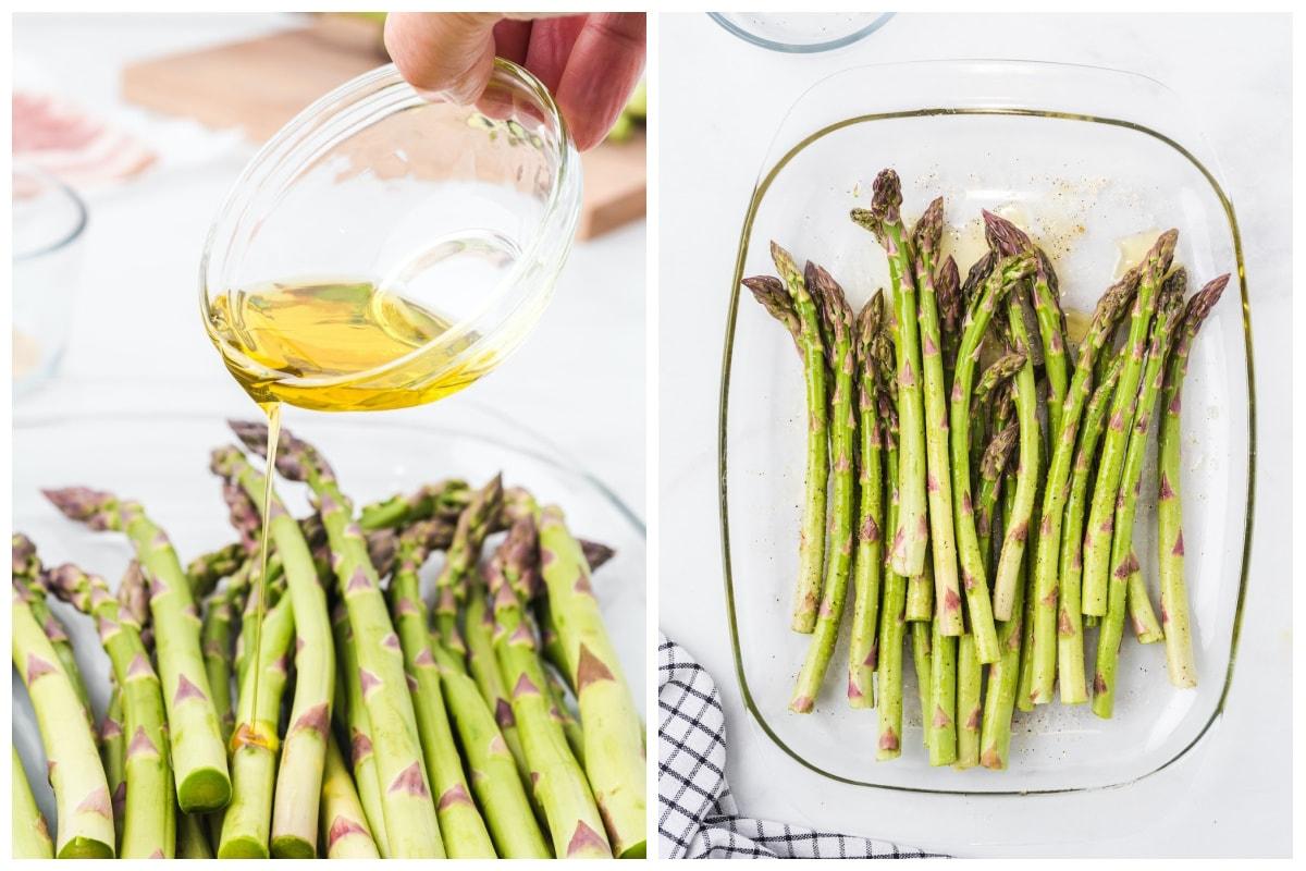 sprinkle olive oil and salt into the asparagus