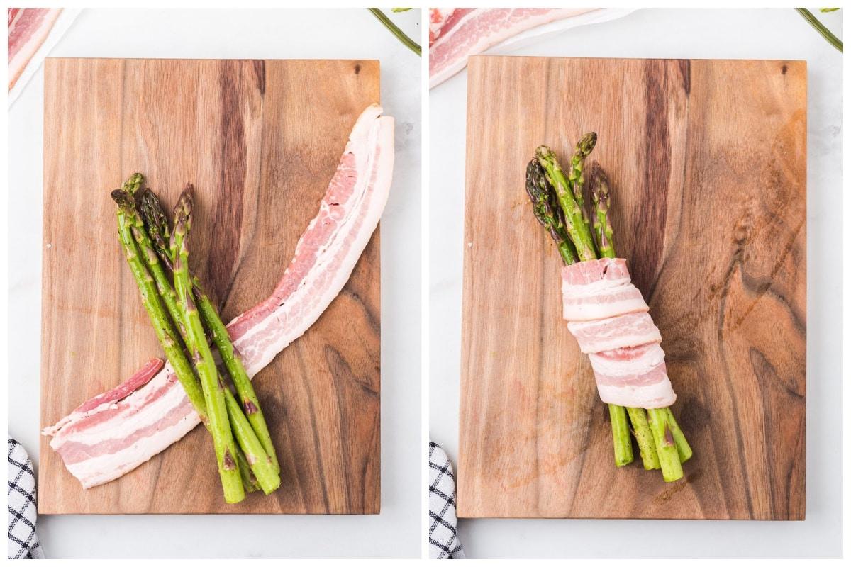 wrap bacon around asparagus bundle