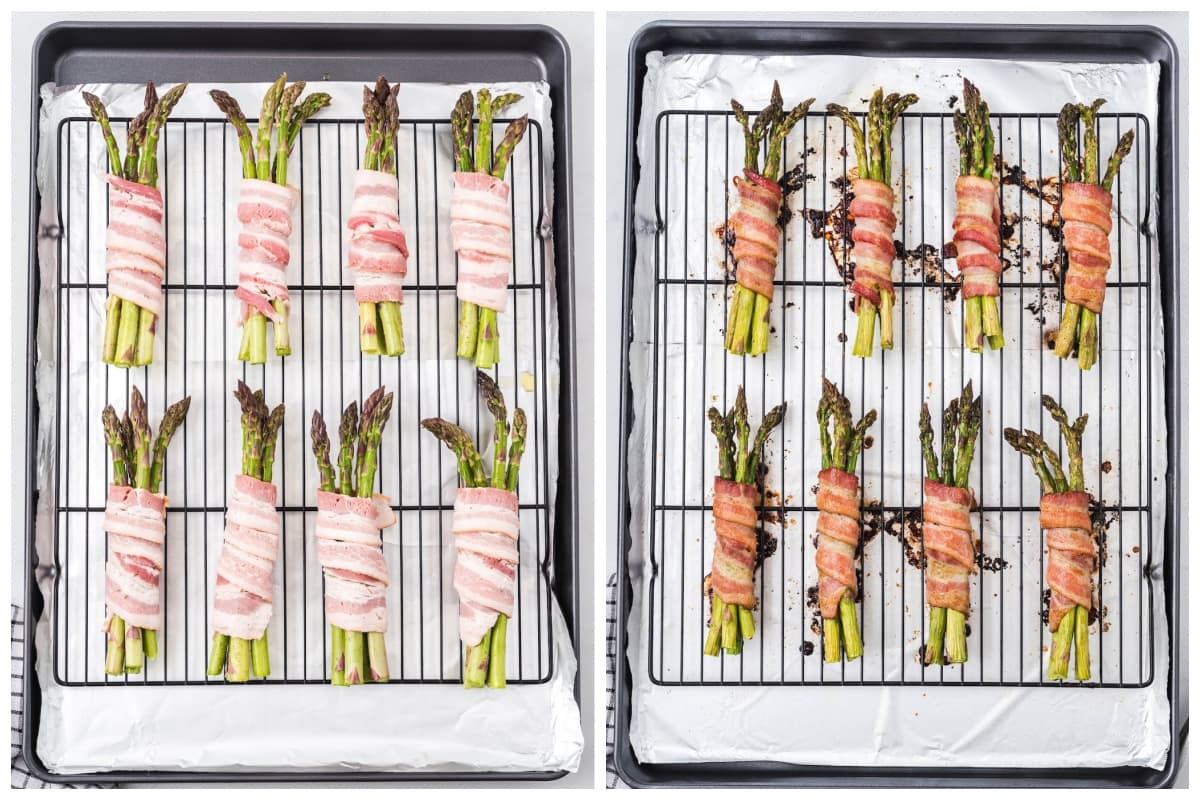 asparagus wrapped bacon in the rack