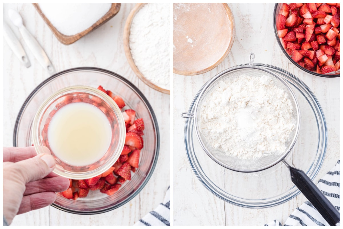 Combine the chopped strawberries and lemon juice in a small mixing bowl. In another bowl sift together the flour, baking powder, and salt.