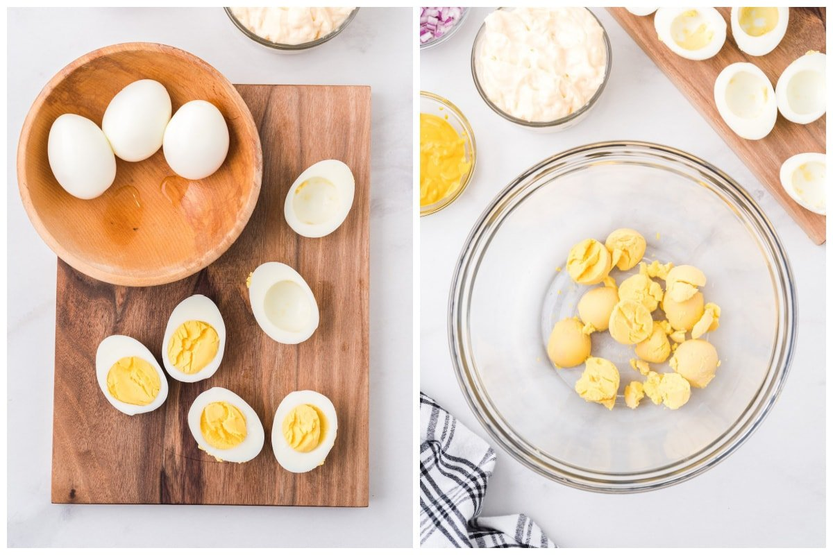 slice egg in half and put the yolk in a bowl