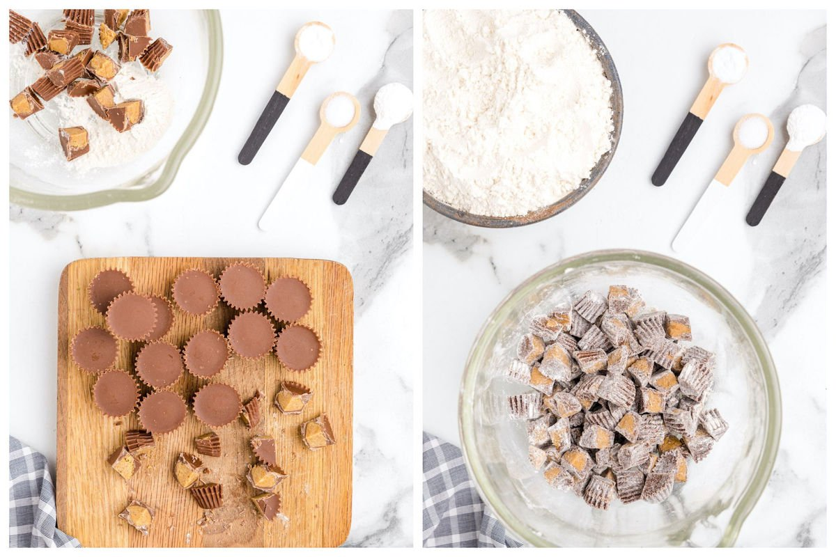 cutting the mini reese's and coat with flour