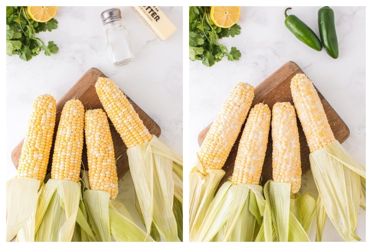 peel back the corn husks and coat them with butter and a sprinkle of salt