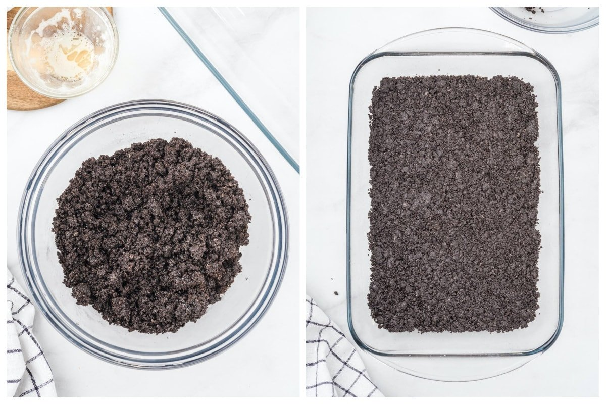 crushed oreos pressed at the bottom of baking dish