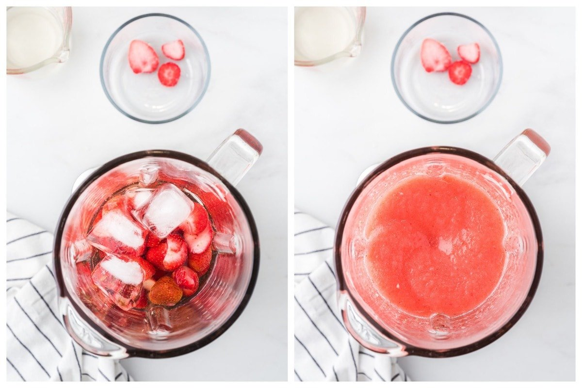 blend together the chilled wine, frozen strawberries, ice and simple syrup