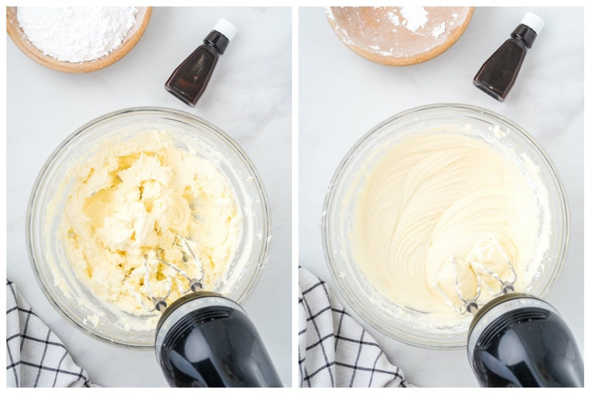 Cream together the cream cheese and butter in a bowl