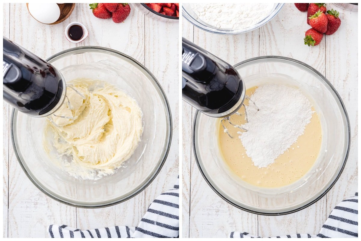 Cream together butter, cream cheese, sugar, vanilla extract, and eggs. Slowly add the sifted flour mixture ½ cup at a time.