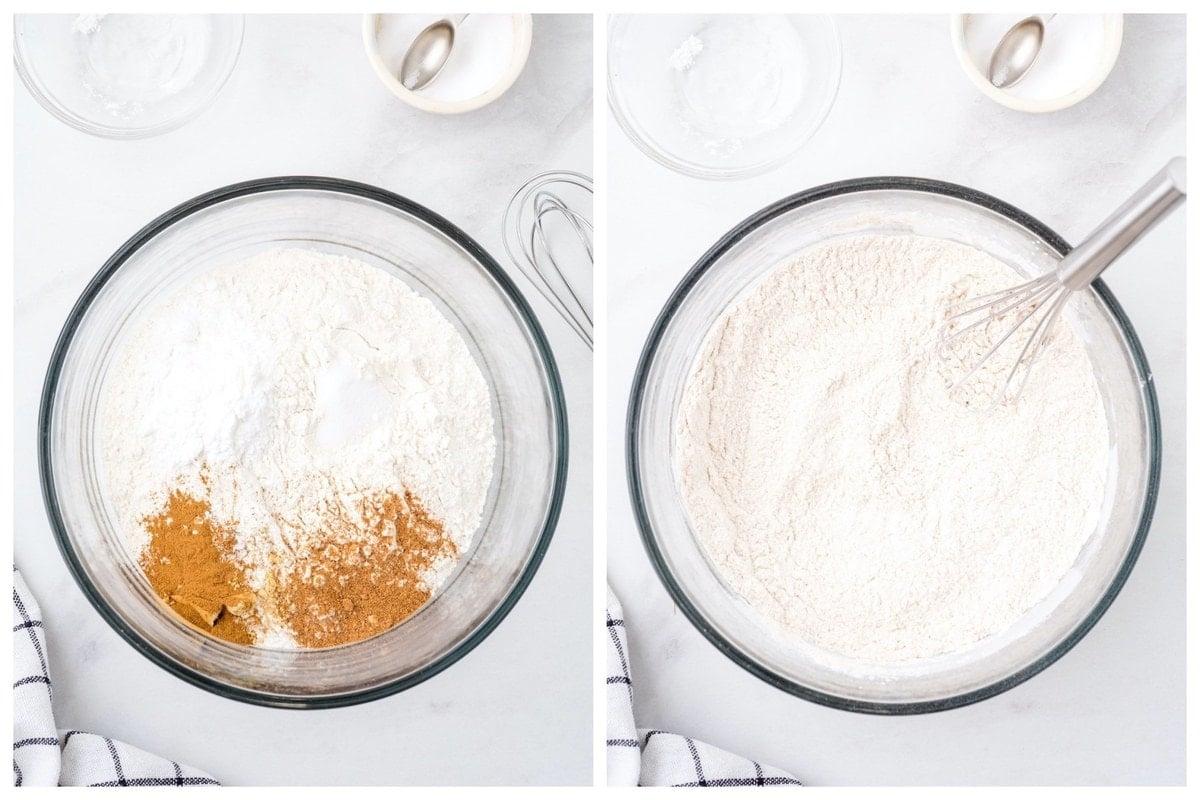 Whisk flour, baking powder, cinnamon, nutmeg, ginger, and salt.