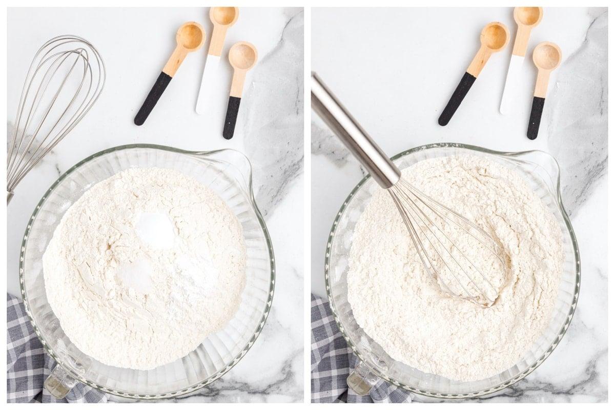 Combine the flour, baking soda, baking powder and salt in a medium-sized bowl