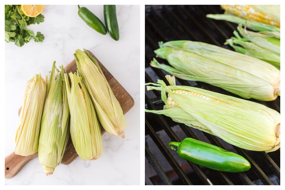 pull each husk back and put in the grill