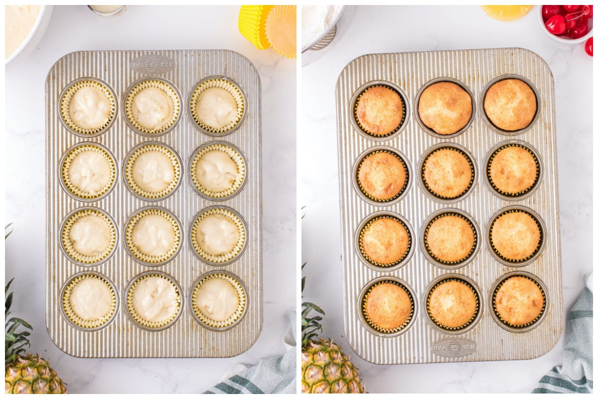 pour the batter into muffin tins and bake