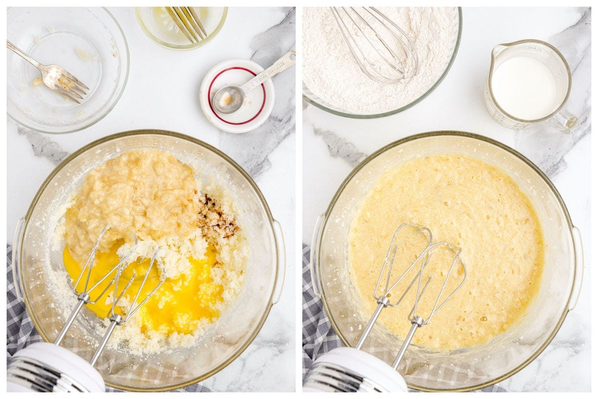 Cream together the butter, sugar, banana and vanilla extract in a large bowl