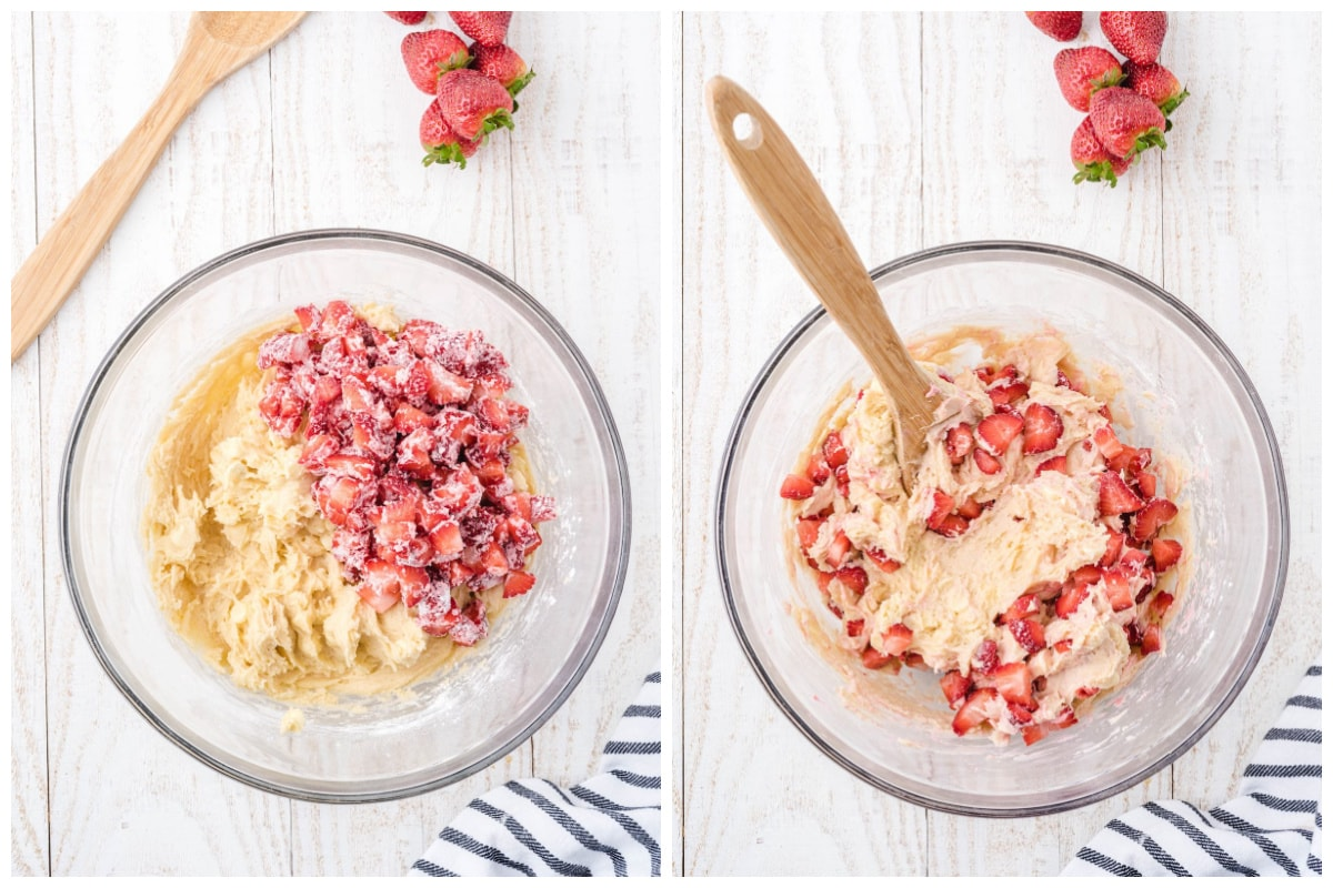 add strawberries to the cookie dough