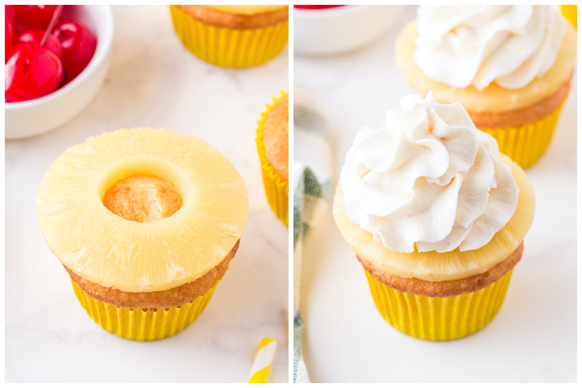 decorate cupcake with pineapple slice and whipped topping