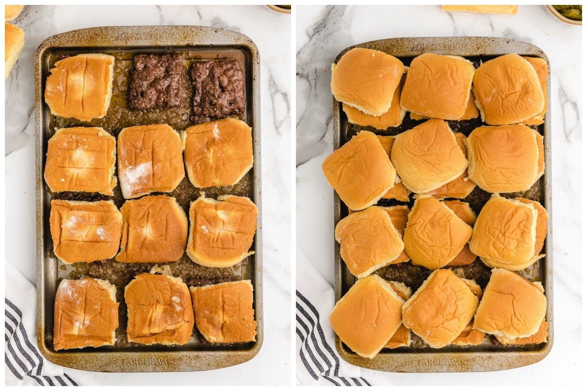 add the dinner roll into each patty