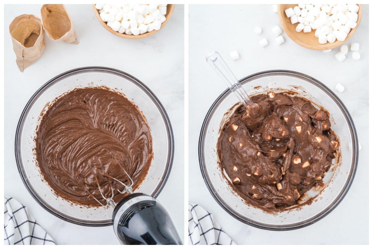mix chocolate pudding with mini marshmallow