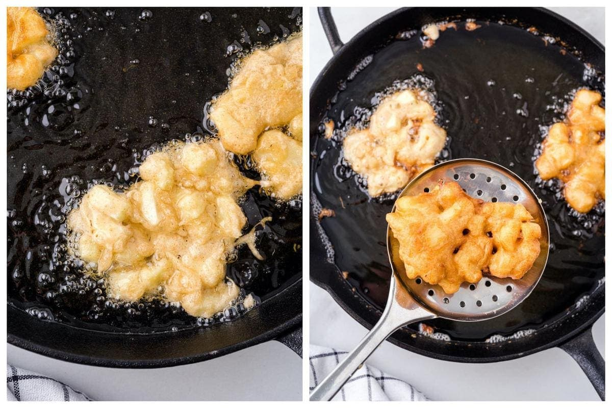frying the batter in a skillet