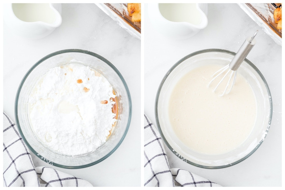 Whisk together powdered sugar, milk, and vanilla extract in a bowl