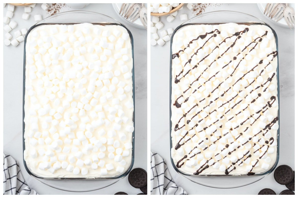 sprinkle with mini marshmallow and drizzle with chocolate syrup