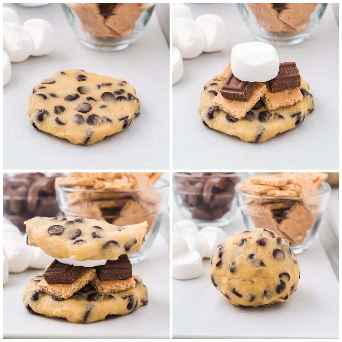 place graham crackers, chocolate and marshmallow between the cookie batter and roll into a ball